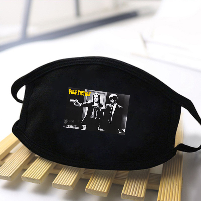 Fashion Pulp Fiction Print Cute Mask Unisex High Quality Washable Reusable Dustproof Windproof Mask Face Mask Black Mouth Muffle