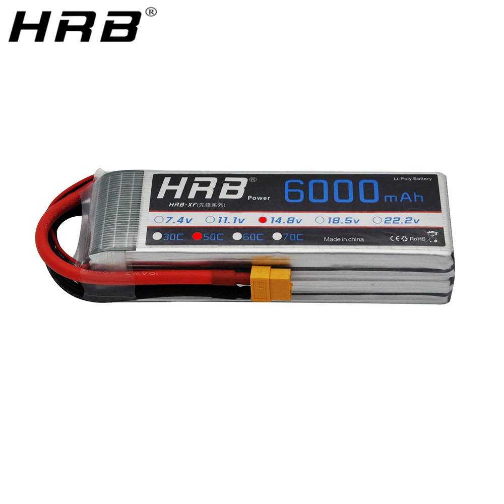 HRB <font><b>Lipo</b></font> 14.8V <font><b>Battery</b></font> <font><b>4S</b></font> <font><b>6000mah</b></font> Deans T XT60 XT90 EC5 TRX Female 50C For Helicopter Airplane Off-Road Cars Truck Boat RC Parts image