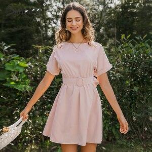 Image 3 - Simplee Vestido corto femenino de verano con manga de murciélago y cuello redondo, traje elegante de color rosa liso para mujer, cintura alta