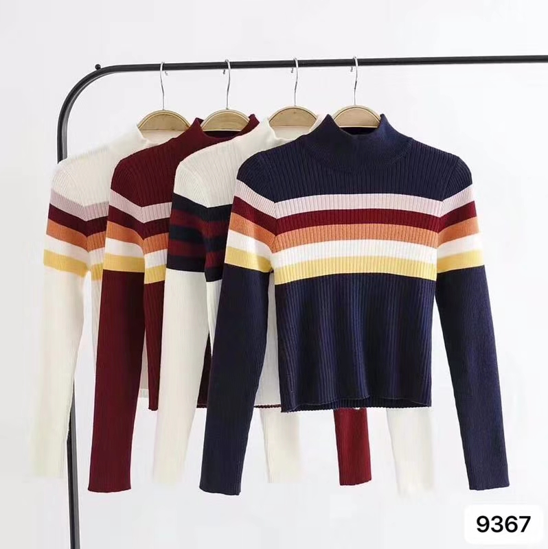 Autumn Women Striped Sweater Jumpers Turtleneck Cropped Sweater Pullover Crop Top For Female LJM9367