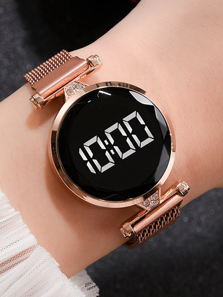 Magnet-Watches Clock Dress LED Feminino Rose-Gold Digital Stainless-Steel Female Women