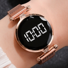 Magnet-Watches Clock Dress LED Drop-Ship Feminino Rose-Gold Digital Stainless-Steel Female