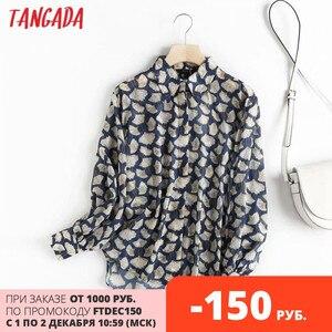 Tangada women leaf print high quality shirt blouse long sleeve chic female office lady elegant shirt blusas femininas 4C62