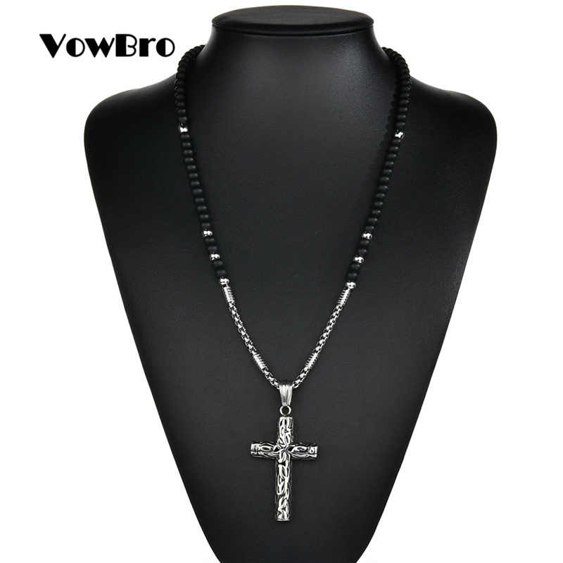 VowBro Rosary necklace Jesus christ cross pendant necklaces  bead long chain mens women Stainless Steel christian  jewelry