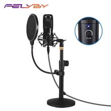 FELYBY micrófono podcast USB, micrófono de condensador plug and play para juegos de ordenador, grabación, doblaje y YouTube