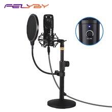 FELYBY podcast microfono USB, plug and play microfono a condensatore per giochi per computer, la registrazione, il doppiaggio e YouTube