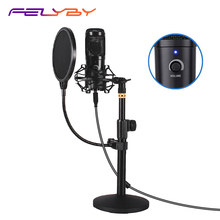 FELYBY podcast microphone USB, plug and play condenser microphone for computer games, recording, dubbing and YouTube