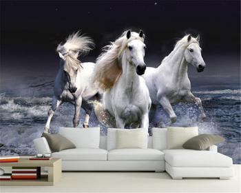 beibehang Customized modern fashion beautiful decorative painting horse background papel de parede 3d wallpaper papier peint beibehang custom size abstract space corridor white sphere 3d stereo tv background wallpaper papel de parede 3d papier peint
