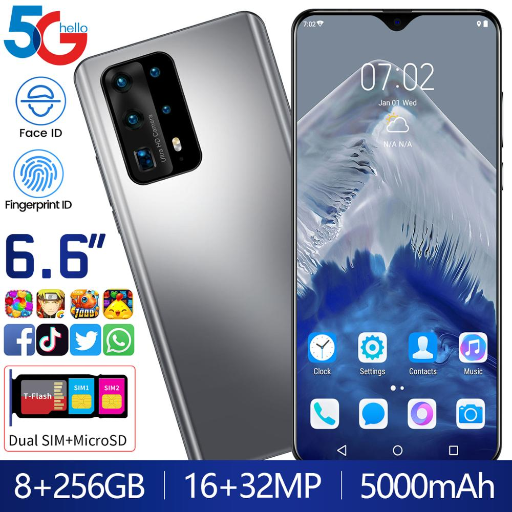 Yeni P40 Pro + akıllı telefon Android 8GB RAM 256GB ROM Deca çekirdek 5000mAh CPU Huawe I cep telefon stok 6.6