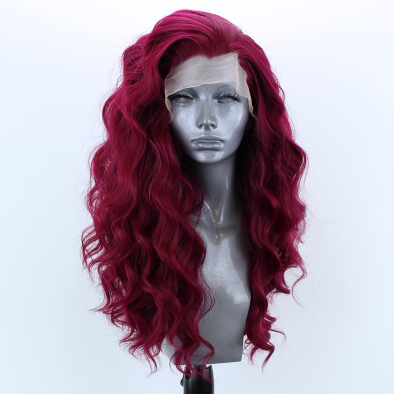 RONGDUOYI High Temperature Fiber Hair Synthetic Lace Front Wig Long Body Wave Front Lace Red Wigs For Women With Side Part