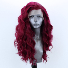 RONGDUOYI High Temperature Fiber Hair Synthetic Lace Front Wig Long Body Wave Fr