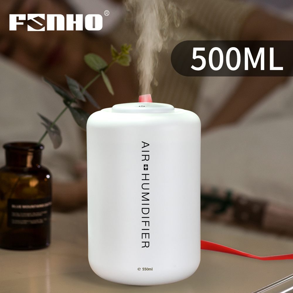 FUNHO 500ml Electric USB Air Humidifier Aromatherapy Essential Oil Diffuser Mini Humidifier Car Mist Maker For Home LED Light