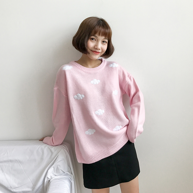 cute Clouds Korean style 2021 Women's Sweater Kawaii Loose Thick Harajuku Clothing For Women long sleeve vintage knitted sweater 4