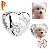BELAWANG 925 Sterling Silver Animal Cão Pegada Cubic Zirconia Charme Bead fit Pulseira DIY Personalizar Foto Beads Jóias Presente