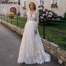 Elegant Full Lace Champagne Wedding Dresses 2020 Sexy V-neck illusion Long Sleeve Boho Beach Bridal Gown Sweep Train Marriage