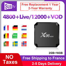 IPTV France espagne X96 Mini Box SUBTV 1 an IPTV Code Android 7.1 S905W 2G 16G français arabe italie royaume-uni Portugal IP TV Vod X96mini(China)