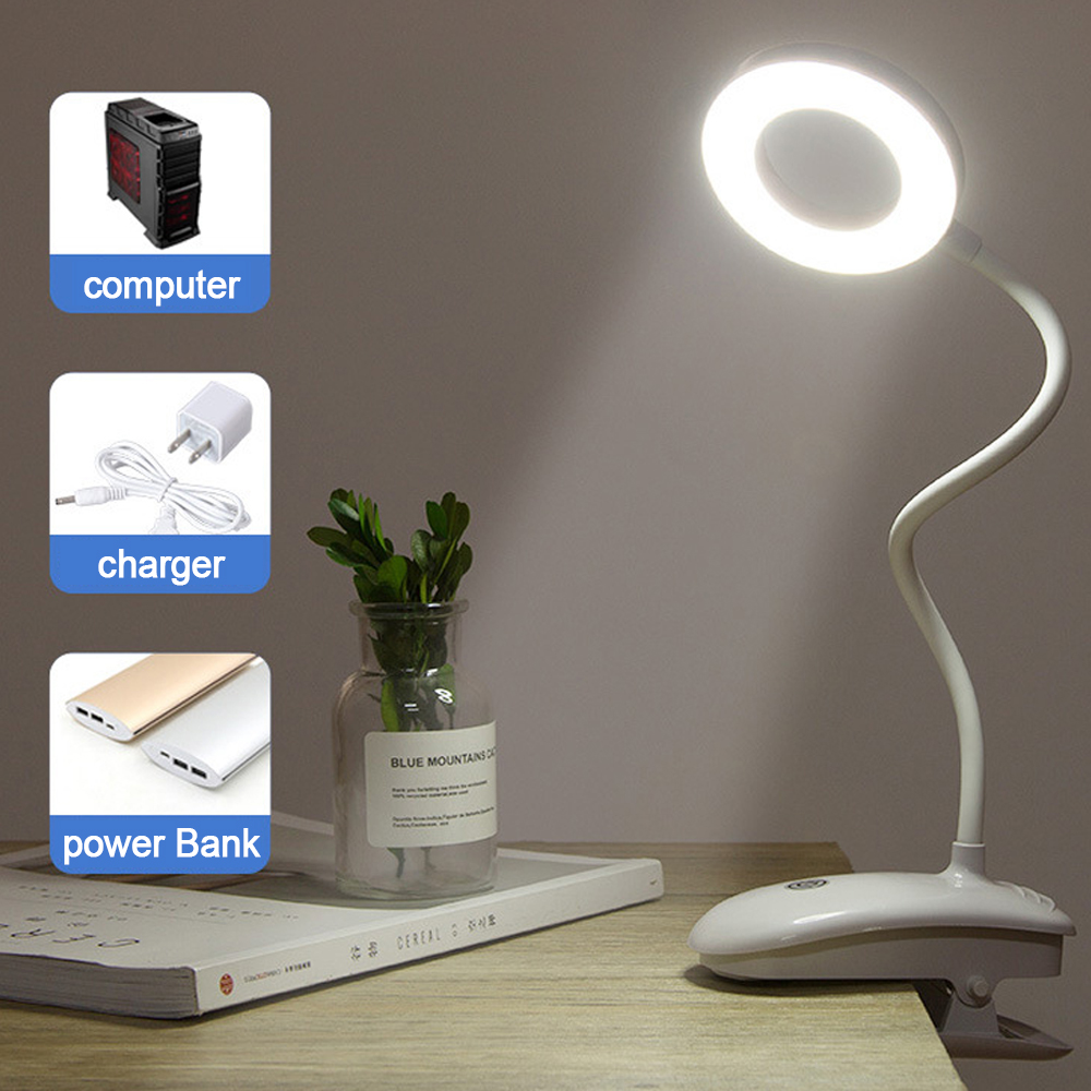 LED Flexible Battery Operated Bedside Reading Desk Table Bright Light Lamp UK YM