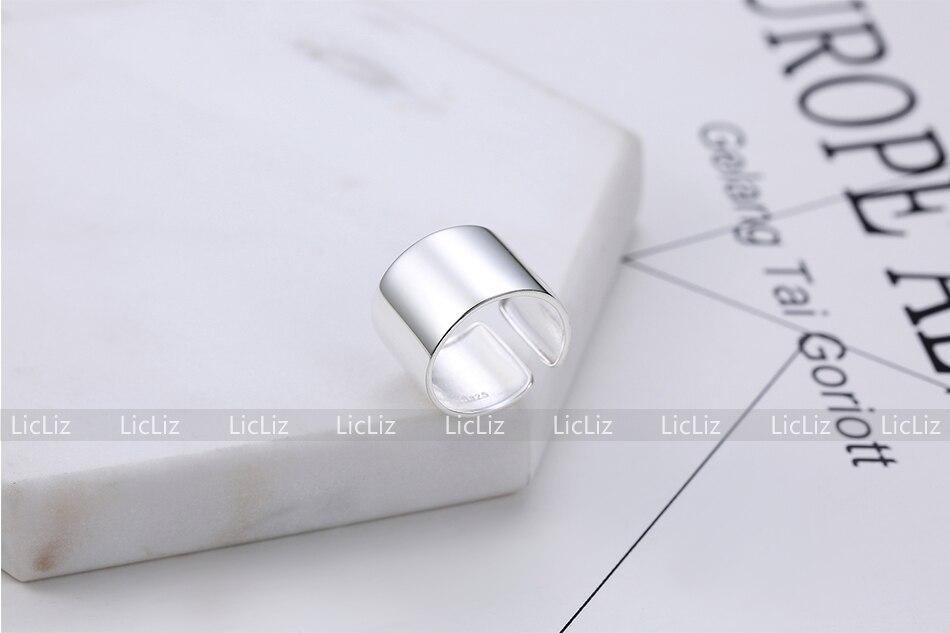 H179f270adc2147d9ac8de296e74639500 LicLiz 2019 925 Sterling Silver Big Open Adjustable Ring for Women Men Plain White Gold Jewelry Joyas de Plata 925 Bijoux LR0329