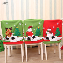 MTL christmas decoration Santa Claus Snowman Chair Cover for christmas Chair Back Covers Christmas Decor Table New Year Supplies цена