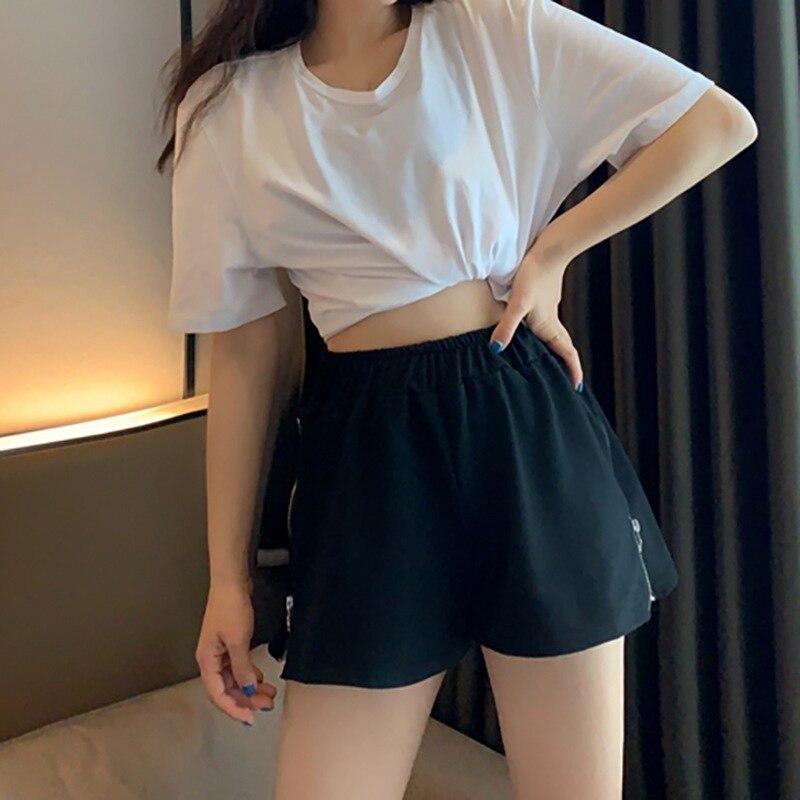 Korean Summer New Women Shorts Solid Color High Waist Zipper Decoration Wide Leg Loose Casual High Waist Women Shorts