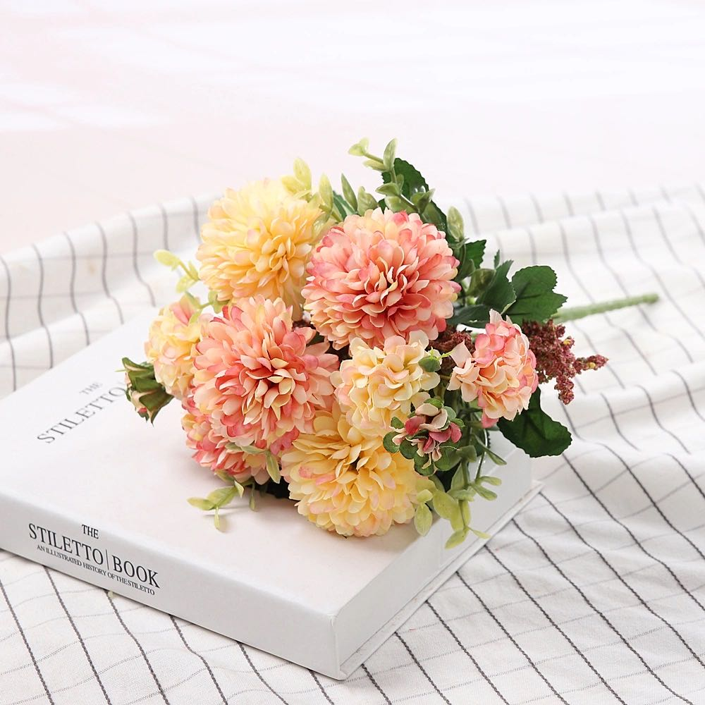 Peony Artificial Flowers High Quality Luxurious Bouquet Wedding Decoration for Home Table Decor Sky Blue Fake Flowers Hydrangea 10