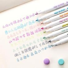 Креативные художественные маркерные ручки, 8 цветов, двойная линия, ручка, светильник, флуоресцентный маркер для студентов, товары для рукоделия, канцелярские ручки для рисования