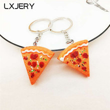 Lxjery pizza chaveiro pvc chaveiro para mulheres saco charme chaveiro pingente presentes jóias