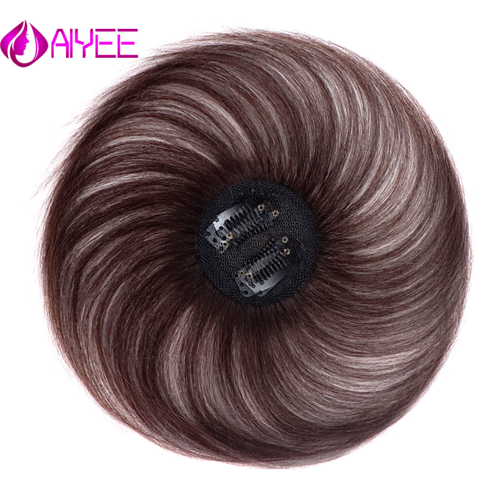 AIYEE  Piece Closure Toupee Straight Synthetic Protein Silk Hair Hand-made Natural Black Topper Hairpiece With Bang Hair Piece