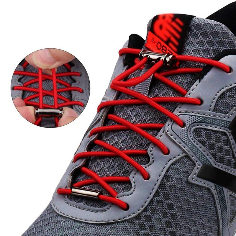 1 Pair No Tie Shoe Laces Elastic Shoelaces Round Metal Buckle Kids Adult Quick Lock Shoe Lace Leisure Sneakers Lazy Laces