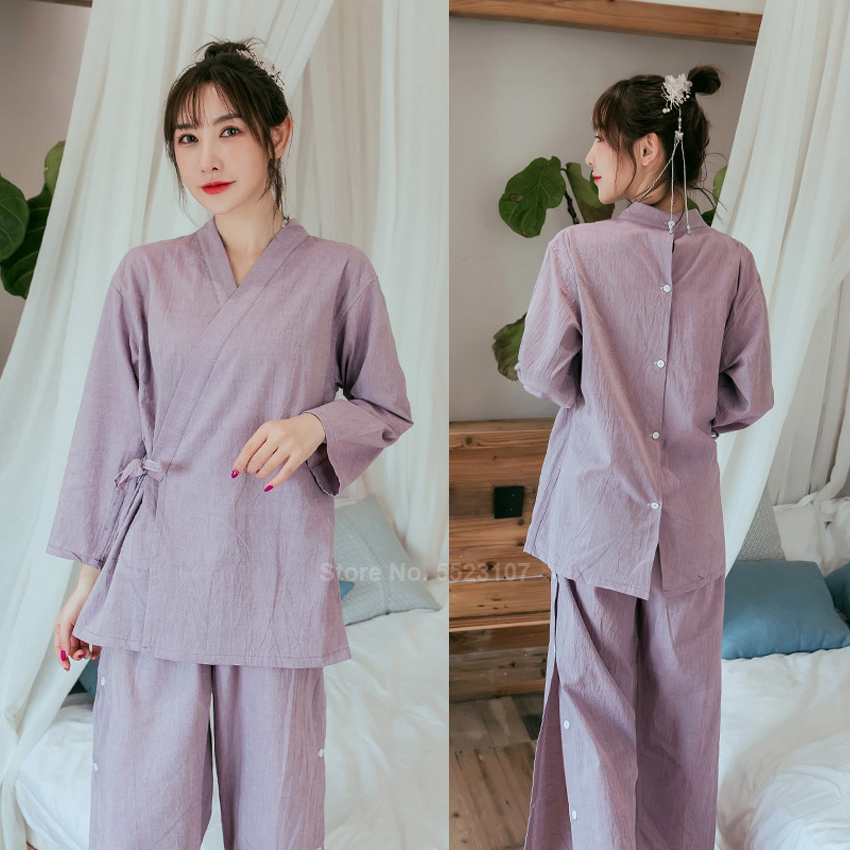 Pure Cotton Japanese Style Sleepwear Set 2020 New Spa Sauna Wear Open Back Message Bathing Pajamas Men Women Kimono Yukata