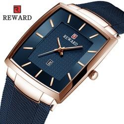Nagroda mężczyźni oglądaj wodoodporny slim  z siatką wojskowe kwadratowe zegarki na rękę mężczyźni Sport kwarcowy Business Casual zegarek męski Relogio Masculino|Zegarki kwarcowe|   -