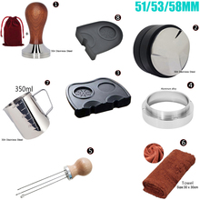 51/53/58mm 304 Stainless Steel Coffee Powder Tamper Hammer 3 Angle Tampers Double Mat Portafilter 350ml Pitcher Dosing Ring