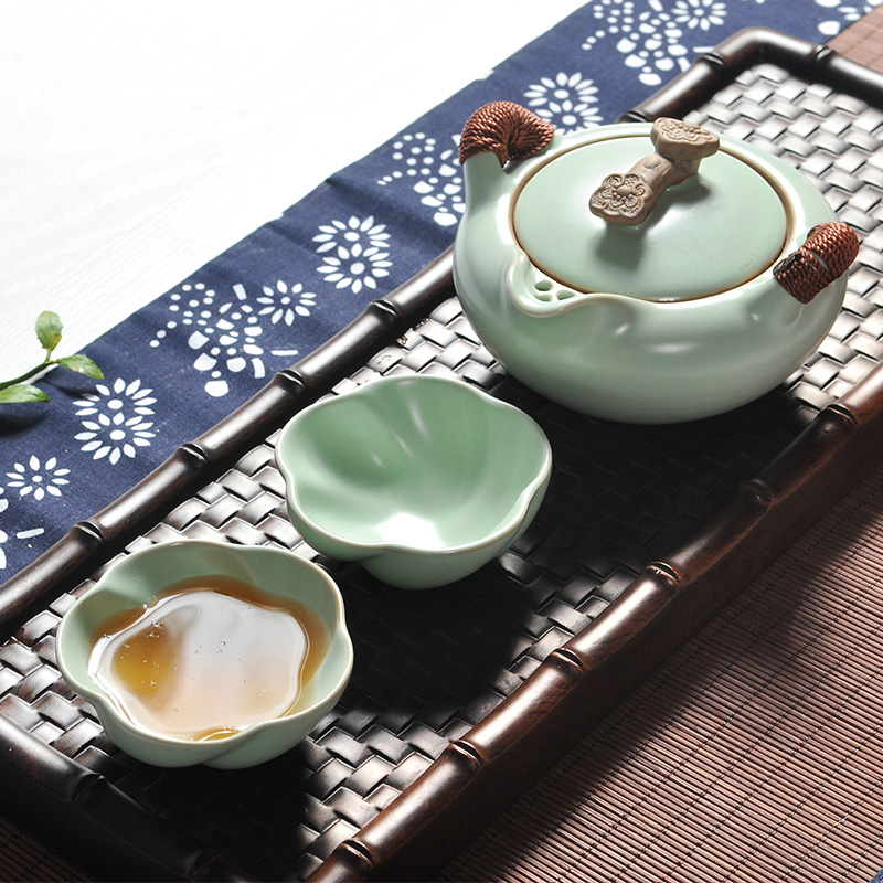 1 Pot 2 Cups Smoothness Ru Kiln Porcelain Tea Sets Celadon Teapot Tea Cup Portable Travel Tea Set Teaset Quik Cup Teacup Pot