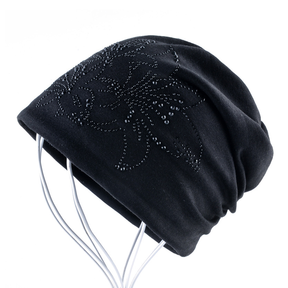 Ladies Winter Hats Autumn Knitted Cap Double-layer Beanies Rhinestone Flower Warm Hat