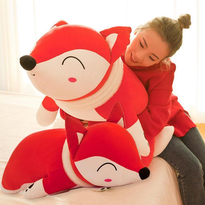 35/50cm Fox Shape Plush Doll Stuffed Animal Sleeping Pillow Cotton Girl Kid Baby Gifts Toy Sofa Decorative Accessories