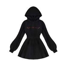 Женское осеннее платье harajuku повседневное черное с длинными