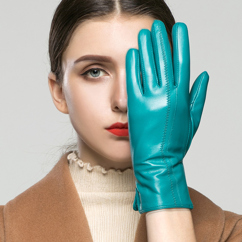 Real Leather Gloves Female Winter Touchscreen Can Be Optional Velvet Thicken High Quality Goatskin Leather Woman's Gloves K33