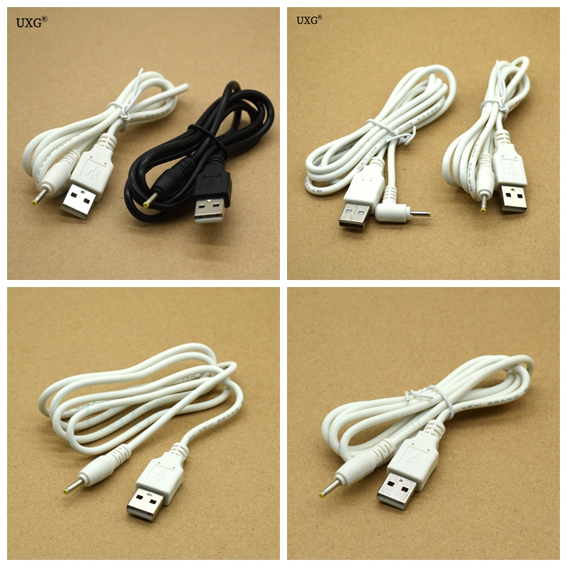 DC Power Adapter Plug USB Convert To 2.5x0.7mm <font><b>2.5</b></font>*0.7mm Black Shape Right Angle Jack With Cord <font><b>Connector</b></font> Cable 1m White image