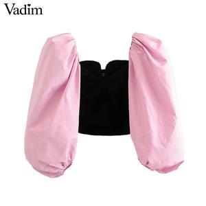 Image 2 - Vadim vrouwen stijlvolle patchwork fluwelen blouses lantaarn mouwen vrouwelijke toevallige korte stijl chic tops blusas mujer LB778