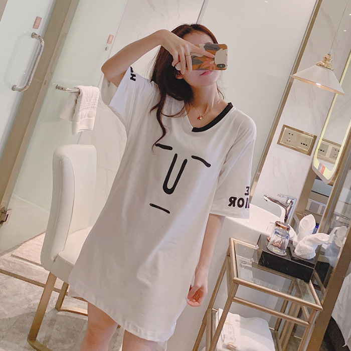 88-3 # Qmilch Nightgown Summer Pajamas Half-sleeve Shirt V-neck Mid-length Solid Color Lettered Funny Expression Dress