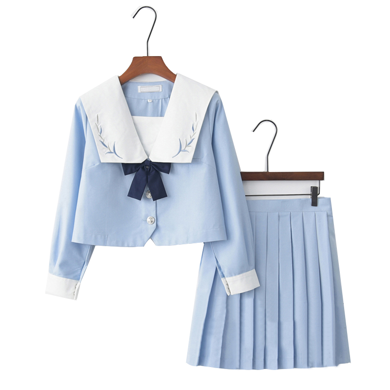 Japanese School Uniform Long Short Sleeve Shirt Pleated Skirt Teenage School Girls Cheerleading Chorus Party Sailor Uniforms