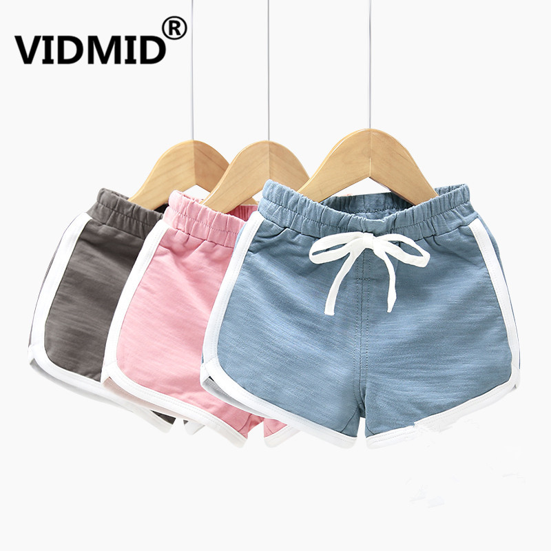 VIDMID Kids Clothes Boys Shorts Summer Baby Elastic Waist Loose Short Fashion Casual Boys cotton solid color trousers 4150 44 1