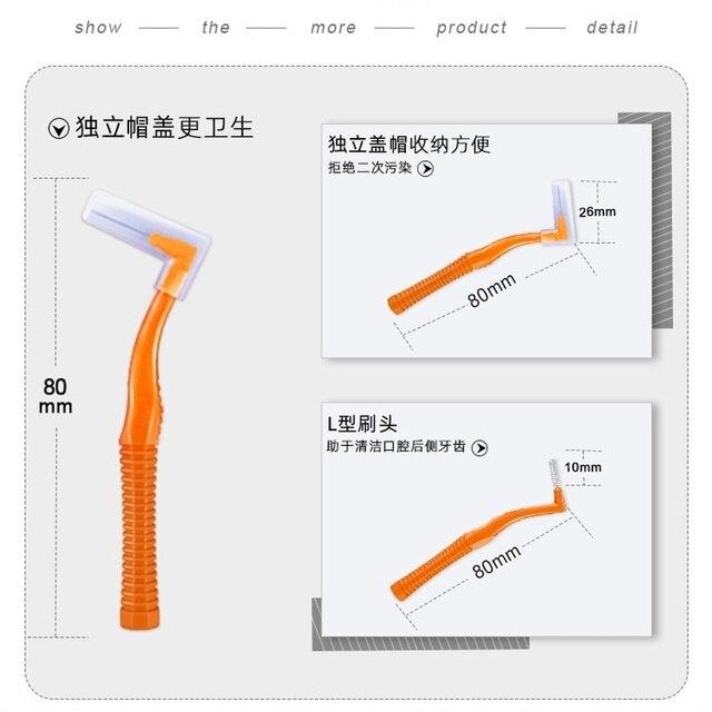 10 sztuk/zestaw L kształt Push-Pull szczoteczka międzyzębowa pielęgnacja jamy ustnej wybielanie zębów Dental wykałaczka do zębów z aparatem ortodontycznym szczoteczka do zębów