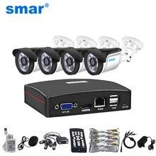 Smar HD 4CH 1080N 5in1 AHD DVR 키트 CCTV 시스템 720P/1080P AHD 방수 IR 카메라 보안 감시 세트 원격 제어