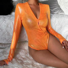 Fluorescent Sharp Summer Orange Sexy Bodycon High Street Bodysuits
