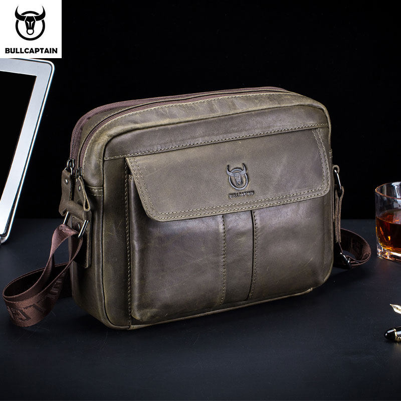 BULLCAPTAIN Men 39 s Briefcase Leather Genuine Leather Men Bag Men Shoulder Bags Men 39 s Crossbody Bag Brand Crossbody bag
