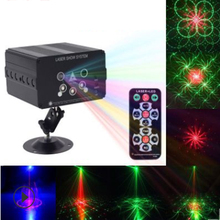 RGB Mini 5 Holes 48 Patterns Mixing Laser Projector Effect Stage Remote 9W Blue Red Green LED Light Show DJ Disco Party Lighting 9w 16 colors rgb led water wave ripple effect stage lighting christmas party dj show pattern laser projector ocean wave light