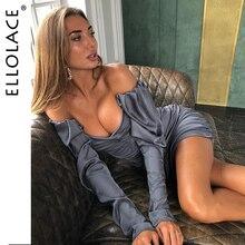 Ellolace Sexy Off Shoulder Ruched Elegant Party Dress Women Long Sleeve Bodycon Aytumn Female 2019 New Fashion Dresses
