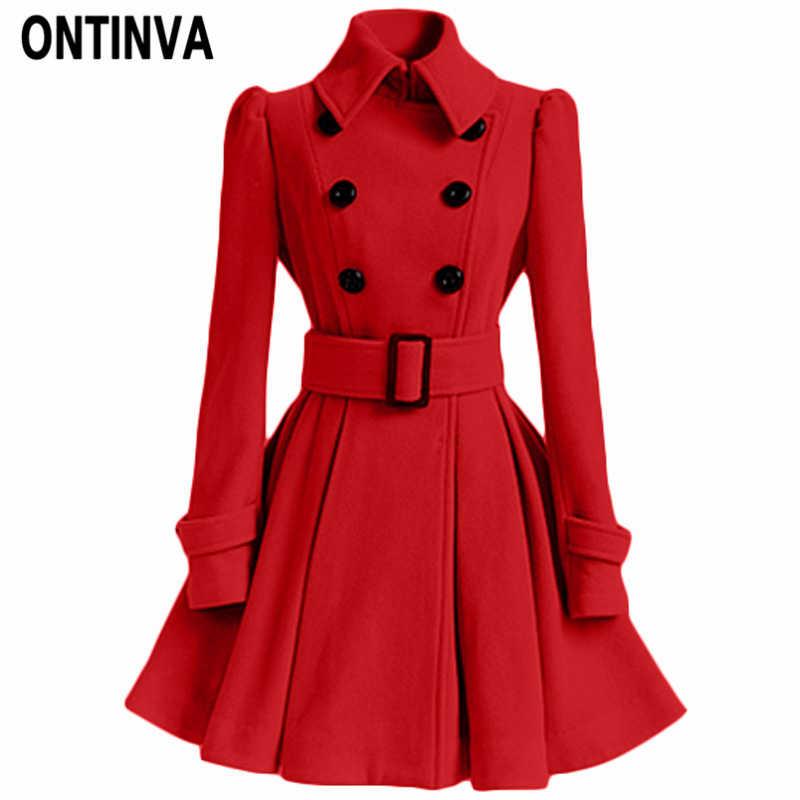 Women Red Wool Coat Winter Overcoat Double Breasted Belt Slim Jackets Female Fashion Black Casual Outerwear Vintage Coat Peacoat
