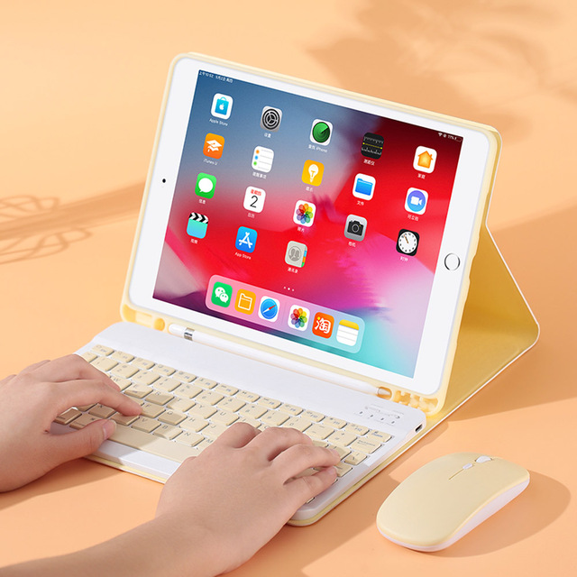 For iPad 9.7 2017 2018 2019 10.2 5th 6th 7th Generation Bluetooth Keyboard Mouse Case for iPad Air 1 2 3 Pro 9.7 10.5 11 Cover 2